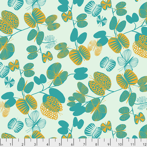 After the Rain by Bookhou Conservatory Chapter 3 : Butterfly Leaves in Cerulean : Free Spirit Fabrics