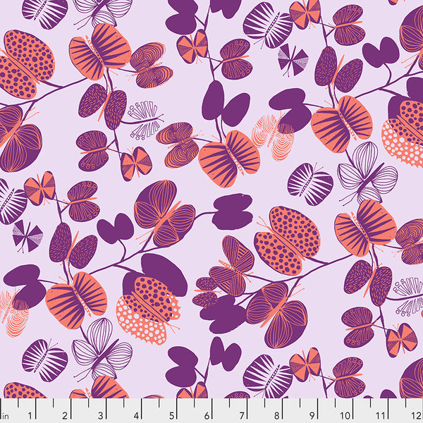After the Rain by Bookhou Conservatory Chapter 3 : Butterfly Leaves in Coral : Free Spirit Fabrics