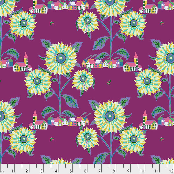 Souvenir by Nathalie Lete Conservatory Chapter 2 : Sunny Village in Aubergine : Free Spirit Fabrics
