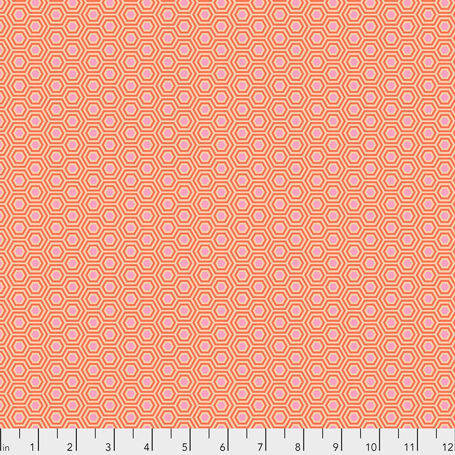True Colors by Tula Pink : Hexy in Peach Blossom : Free Spirit