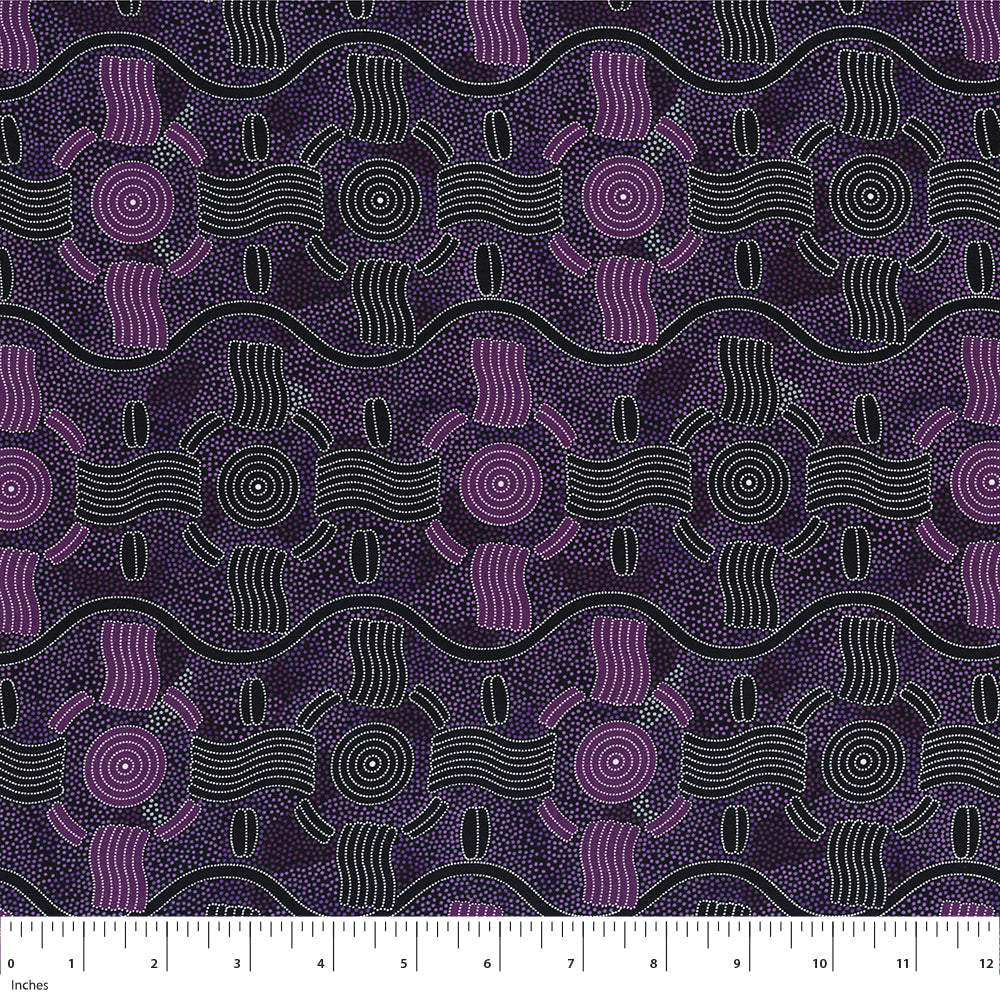 Rain Dreaming in Purple by Audrey Nungarrai : M & S Textiles