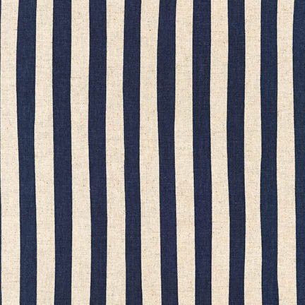 Canvas Natural Stripe by Sevenberry : Navy : Robert Kaufman