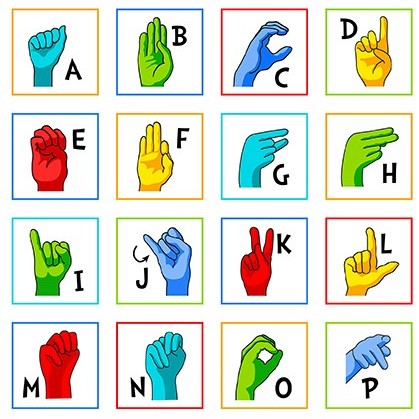Sign Language Alphabet in White : srk-20220-1 : Robert Kaufman : Panel