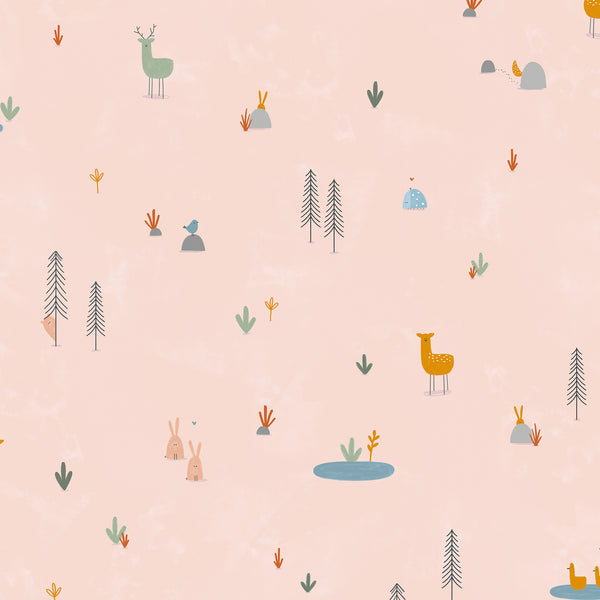 Dear Friends by Alijt Emmens : Forest Cuties in Blush : Cotton and Steel