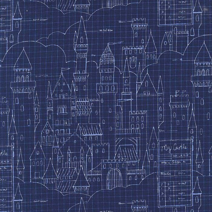 Magic! by Sarah Jane : Castle Plans in Navy : Michael Miller