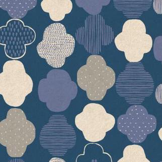 Mori No Tomodachi by Hitomi Osumi : Kumo in Dark Blue : Cotton and Steel : Canvas