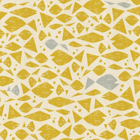 By the Seaside by Loes Van Oosten : Happy Fish in Yellow : Cotton and Steel
