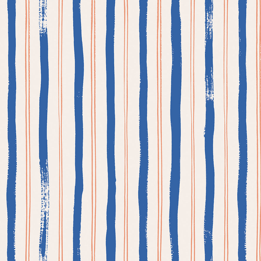 Meadow by Rifle Paper Co : Stripes in Blue : Cotton and Steel