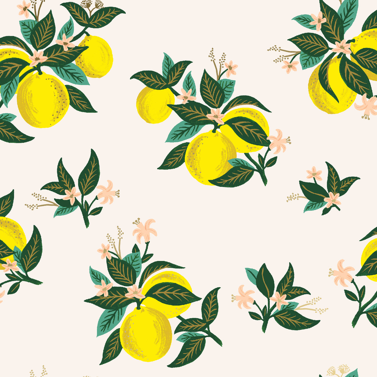 Primavera by Rifle Paper Co : Citrus Blooms in Lemon Metallic : Cotton and Steel