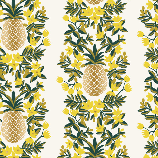 Primavera by Rifle Paper Co : Pineapple Stripe in Cream Metallic : Cotton and Steel