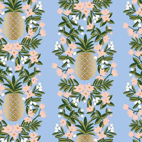 Primavera by Rifle Paper Co : Pineapple Stripe in Periwinkle Metallic : Cotton and Steel