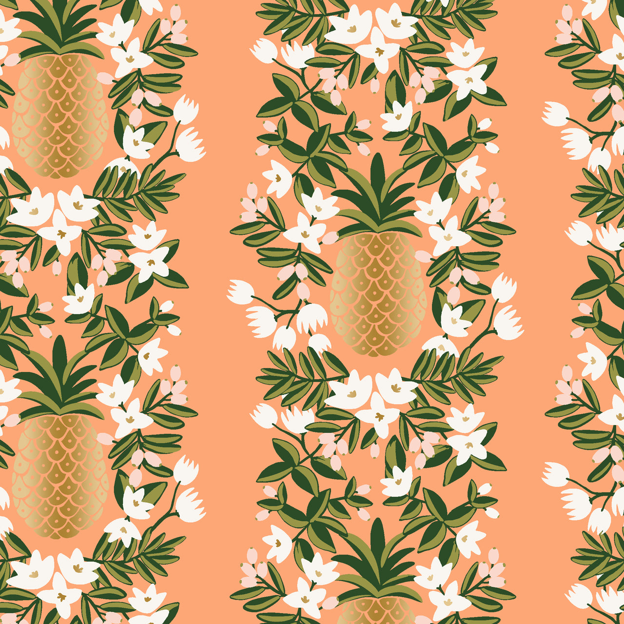 Primavera by Rifle Paper Co : Pineapple Stripe in Peach Metallic : Cotton and Steel : Canvas