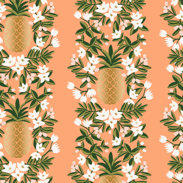 Primavera by Rifle Paper Co : Pineapple Stripe in Peach Metallic : Cotton and Steel