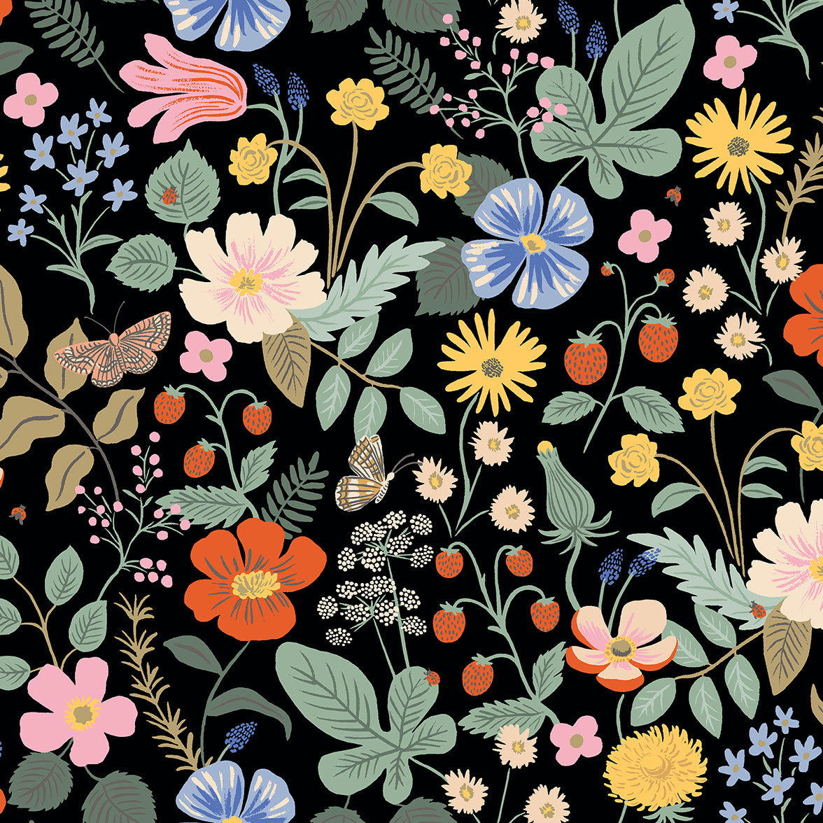 Strawberry Fields by Rifle Paper Co : Strawberry Fields in Black : Cotton and Steel : Rayon