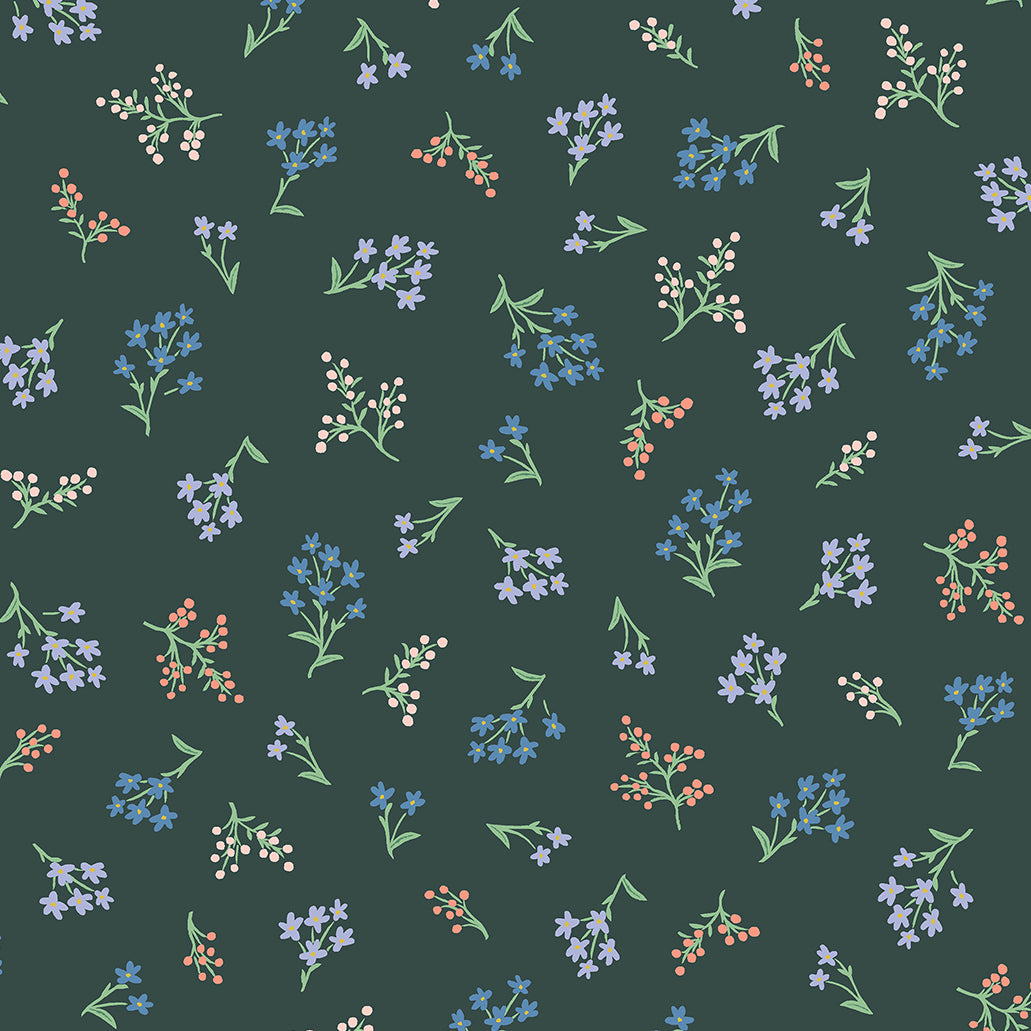 Strawberry Fields by Rifle Paper Co : Petites Fleurs in Hunter : Cotton and Steel