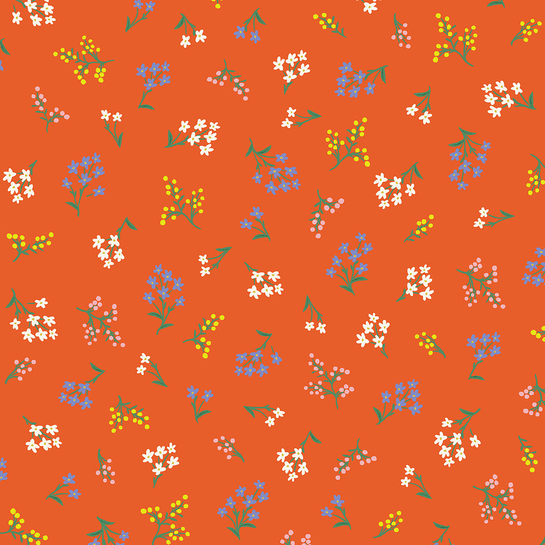 Strawberry Fields by Rifle Paper Co : Petites Fleurs in Rifle Red : Cotton and Steel