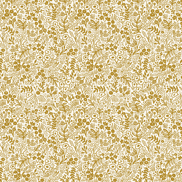 Rifle Paper Co Basics : Tapestry Lace in Gold Metallic : Cotton and Steel
