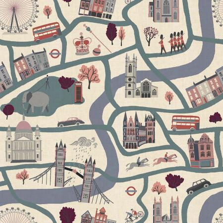 London Town by Sara Mulvanny : London Forever in Blue : Cotton & Steel