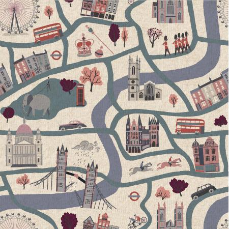 London Town by Sara Mulvanny : London Forever in Cloudy Day : Cotton & Steel : Canvas