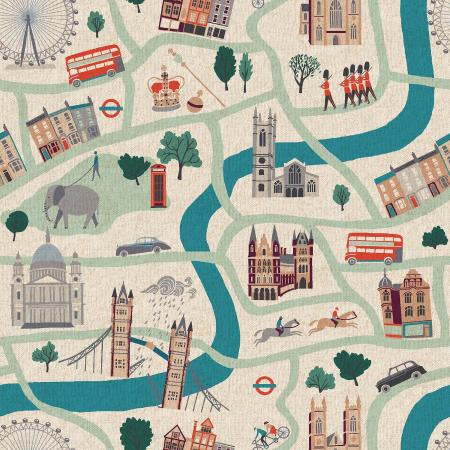 London Town by Sara Mulvanny : London Forever in Sunny Day : Cotton & Steel : Canvas
