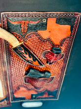 JM Texas Outlaw Edition Cowboy Hat Rack Gun Holster & Dagger Tooled Leather Mount.