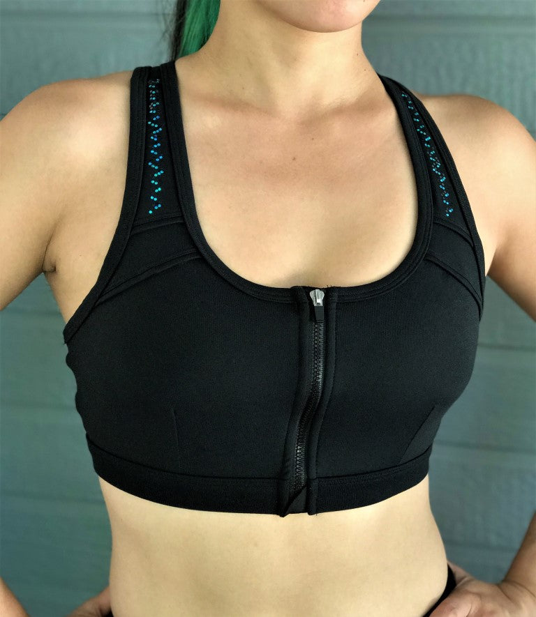 Judy zip Sports Bra (Black & Teal Intertwine)