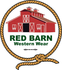 Red barn with rope that sells western clothes