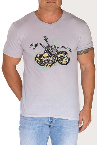 short sleeved tee with motorcycle