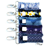 A Collage of five lippyclips in a variety of denim designs