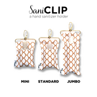 A trio of all three size options of SaniClip: mini, standard, and jumbo.