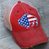 red cap with american flag buffalo on it
