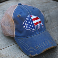 blue cap with american flag buffalo on it