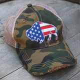 camo cap with american flag buffalo on it