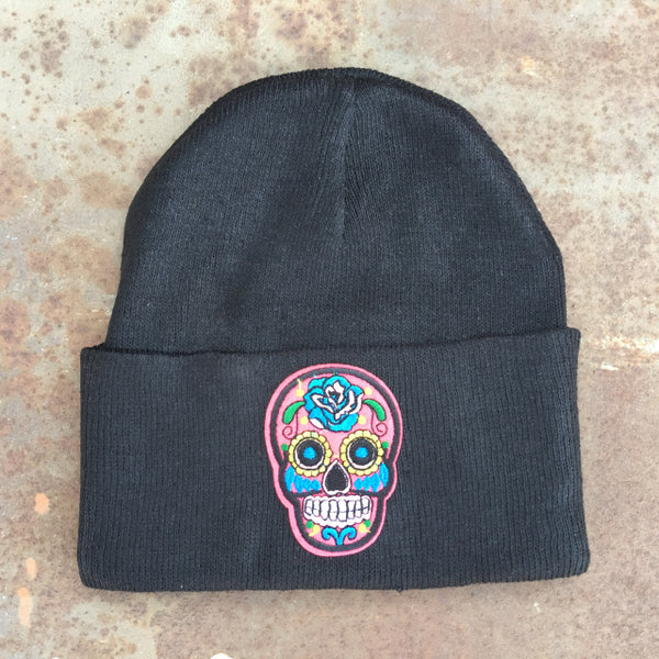 skull face on black beanie