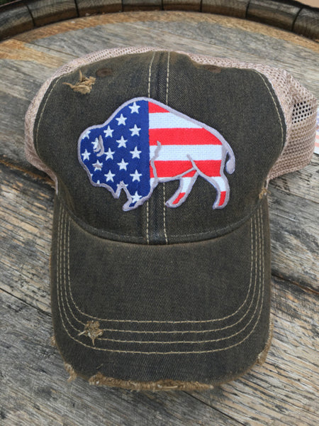 black cap with american flag buffalo