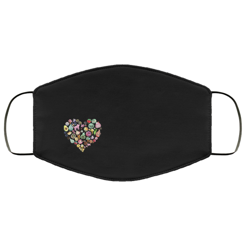 Mural Heart on Black Face Mask