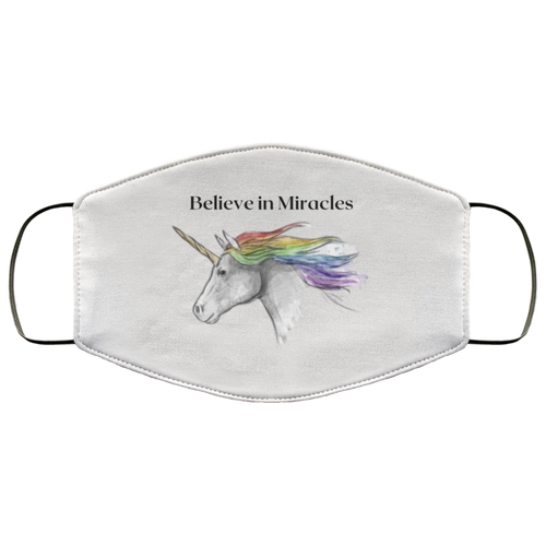 Believe in Miracles Unicorn Face Mask