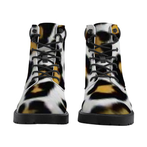 Leopard Print  Leather Boots