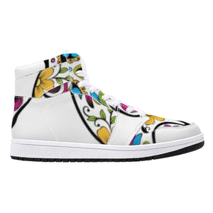 D16 High-Top Leather Sneakers - White