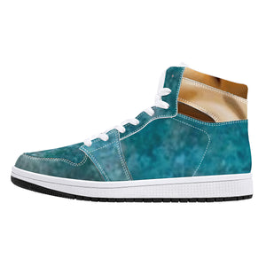 Denim-Style High-Top Leather Sneakers - White
