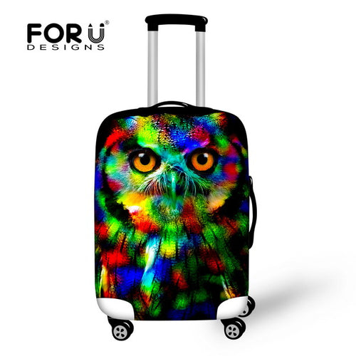 New 3D Waterproof Elastic Travel Luggage Cover  - Owl and Tiger Print - OMG I Really Want That