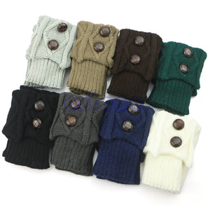 Women Hot Winter Crochet Knit Leg Warmers w Button  - Boot Socks  & Toppers Cuffs - OMG I Really Want That