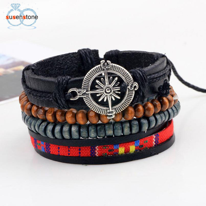 New Men's Braided Leather Stainless Steel Cuff Bangle Bracelet - OMG I Really Want That