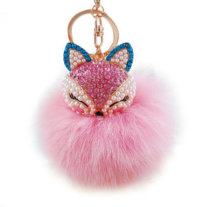 Fox Head Inlay Pearl Rhinestone Ball with Key Chain Ornament - OMG I Really Want That