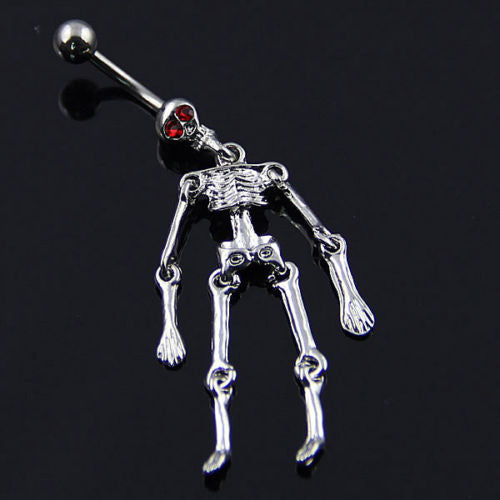 Bluelans Human Skeleton Ball Button Barbell Navel Ring - OMG I Really Want That