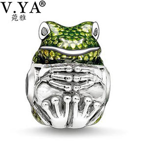 Cute Frog Charms Beads fit Pandora Necklace Bracelet for Women with Rhineston - OMG I Really Want That