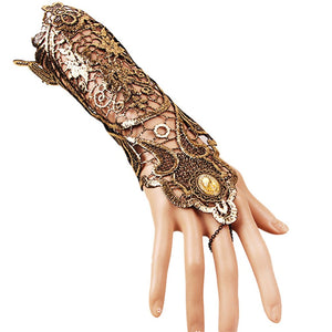 Ladies Steampunk Style Lace Fingerless Long Gloves - OMG I Really Want That