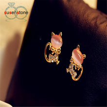 New Fashion Cute Cat Stone Crystal Rhinestone Women Stud Earrings - OMG I Really Want That
