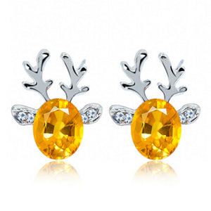 Christmas Reindeer Crystal  Earrings luxury three-dimensional  reindeer antlers - OMG I Really Want That