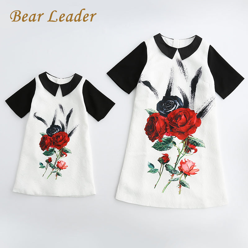 Mother And Daughter Short Sleeve Rose Floral Dresses